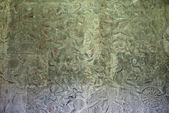 Ancient carvings on walls of Angkor Wat Temple Stock Photos