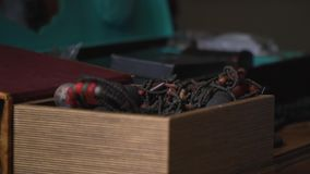 Ancient casket with decorations. Ornaments are in the old casket stock footage