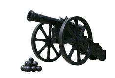 Ancient cast iron cannon on wheels. Isolated on white background Stock Images