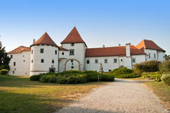 Ancient castle. Historic Old Town castle of Varazdin, with beautiful garden in front. This castle is local symbol and landmark of Varazdin town in Croatia Royalty Free Stock Photography