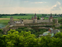 Ancient castle. Old Polish castle in Ukrainian town Kamianets-Podilskyi royalty free stock image
