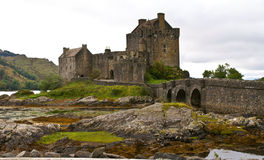 Ancient castle. Eilean donan castle on a cloudy day Stock Image