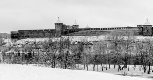 An ancient castle in black and white. stock images
