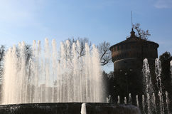 Ancient Castle called Castello Sforzesco with fountain Stock Images