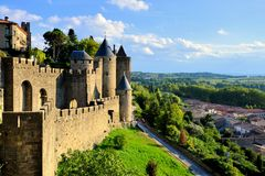 Ancient castle of Carcassonne, France. Ancient castle of Carcassonne overlooking the southern France countryside Royalty Free Stock Images