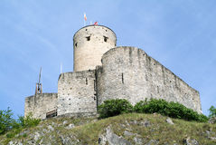Ancient castle with cylindrical tower of Martigny Royalty Free Stock Photo