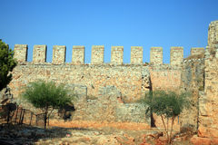 Ancient castle defense wall. Royalty Free Stock Photo