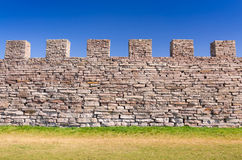 Ancient castle defense wall. Eketorp castle defense wall in summer season stock photos