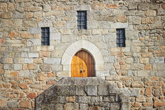 Ancient castle door at the Palace of the Dukes of Braganza Royalty Free Stock Photography