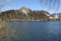 Ancient castle on the hill near the Lake BLED Royalty Free Stock Photography