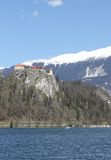Ancient castle on the hill near the Lake BLED in Slovenia Royalty Free Stock Photography