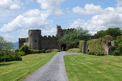 The ancient castle of Manorbier. In Wales Stock Photo
