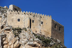 Ancient castle, mussomeli, sicily. A detail of  the medieval fortress of mussomeli, in sicily, a famous sample of architecture of the chiaramonte family in the Stock Images