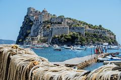 Ancient castle near Ischia island. Tourist target when traveling in Campania stock photo
