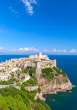 Ancient Castle in old town of Gaeta. Aragonese-Angevine Castle in old town of Gaeta, Italy. Vertical photo Stock Photos
