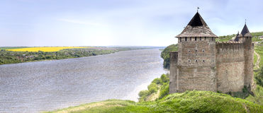 Ancient castle panorama with river Stock Photography