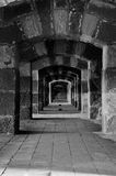Ancient Castle Passageway. Black and White Ancient Castle Passageway Royalty Free Stock Photos