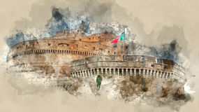 Ancient castle at River Tiber in Rome - Castel Sant Angelo - a popular place for sightseeing. Illustration Stock Images