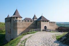 Ancient castle. Road to ancient castle Ukraine Stock Images