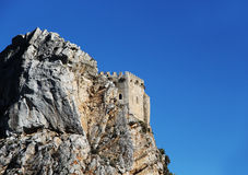 Ancient castle on a rock, space for text. An overall view of  the medieval fortress of mussomeli, in sicily, a famous sample of architecture of the chiaramonte Stock Photos