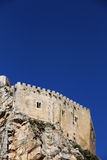 Ancient castle on a rock, space for text on top. A detailed view of  the medieval fortress of mussomeli, in sicily, a famous sample of architecture of the Stock Photos
