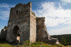 Famous Ukrainian landmark: scenic summer view of the ruins of ancient castle in Kremenets, Ternopil Region, Ukraine Stock Image