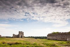 Famous Ukrainian landmark: scenic summer view of the ruins of ancient castle in Kremenets, Ternopil Region, Ukraine Royalty Free Stock Image
