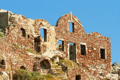 Ancient Castle Ruins in Oia Stock Image