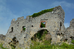 Ancient castle ruins. Surrounded by overgrown grass Stock Images