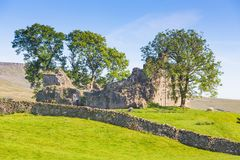 Ancient Castle Ruins in the Yorkshire Dales. The ruins of an ancient stone castle in the Yorkshire Dales in England Stock Image