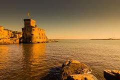 Ancient castle by the sea in Rapallo, Italy, panoramic view. Stock Images