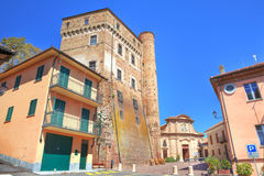 Ancient castle and small plaza in Roddi, Italy. Royalty Free Stock Images