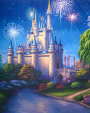 Ancient castle. Theatre backdrop featuring a scene with fireworks exploding over a medieval castle vector illustration