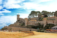 Ancient castle in Tossa de Mar, Spain stock photos