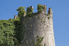 Ancient castle tower in Galicia stock images