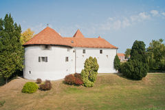 Ancient castle in Varazdin. Historic old town castle with beautiful garden in front. This castle is local symbol and landmark of Varazdin town in Croatia Royalty Free Stock Images