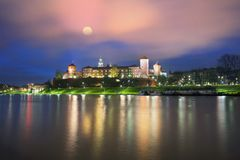 Ancient castle of Wawel Vistula river bank. Walk on a rainy evening in the old picturesque embankment of the famous city of Krakow Eastern Europe under the Stock Images