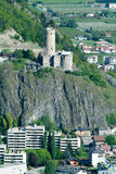 Ancient Castle With Cylindrical Tower Of Martigny Stock Image
