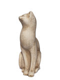 Ancient cat statuette on white background Stock Image