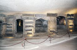 Ancient catacombs where once San Gennaro was buried. royalty free stock images
