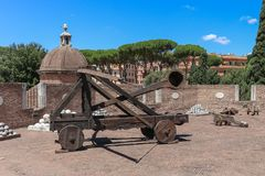 Ancient catapult used by Roman Army stock photos