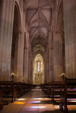 Ancient cathedral with a beautiful interior with columns, glare Royalty Free Stock Photos