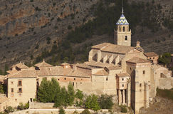 Ancient cathedral in the picturesque village of Albarracin. Spai Royalty Free Stock Photo
