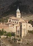 Ancient cathedral in the picturesque village of Albarracin. Spai Stock Photography
