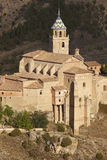 Ancient cathedral in the picturesque village of Albarracin. Spai Royalty Free Stock Photos