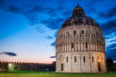 Ancient cathedral in Pisa at sunset Stock Photography