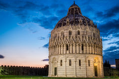 Ancient cathedral in Pisa at sunset Royalty Free Stock Images