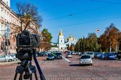 Cathedral of Sophia square in Kiev Kiev, Ukraine 06.11.2018. The ancient cathedral in St. Sophia Square in Kiev Kiev, Ukraine 06.11.2018 stock photography