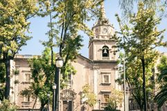 Ancient cathedral. The view of the city of Catania, Sicily, Italy.  royalty free stock photography
