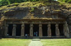 An ancient cave in Elephanta Island. Royalty Free Stock Photo